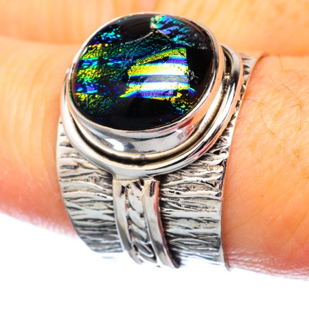 Dichroic Glass Ring Size 7.75 (925 Sterling Silver)  - Handmade Boho Vintage Jewelry RING932012