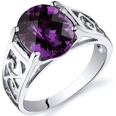 3.5 ct Oval Shape Created Alexandrite Solitaire Ring in Sterling Silver Silver June Birthstone Ring