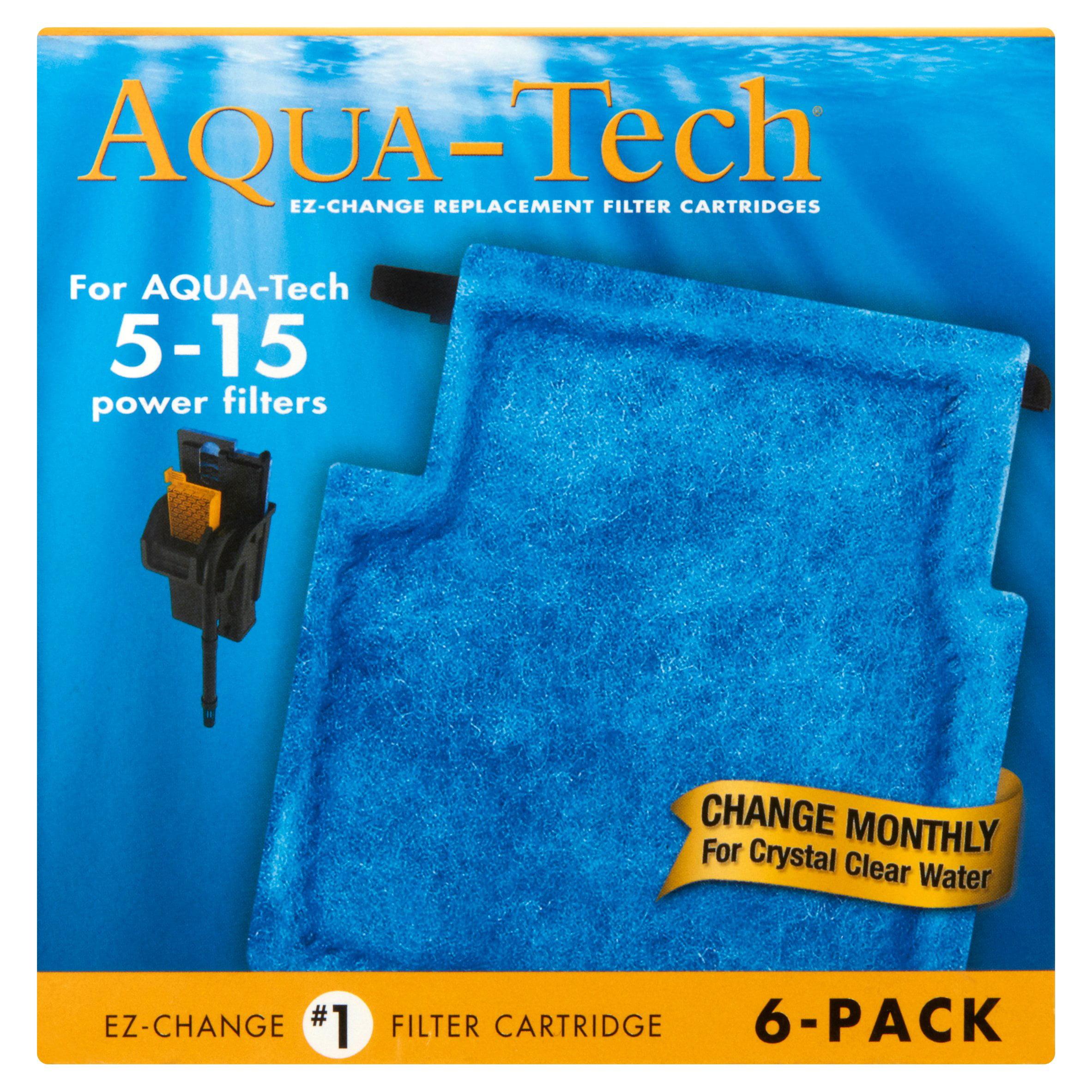 Aqua-Tech EZ-Change Aquarium Filter Cartridge for 5-15G Filters, 6pk