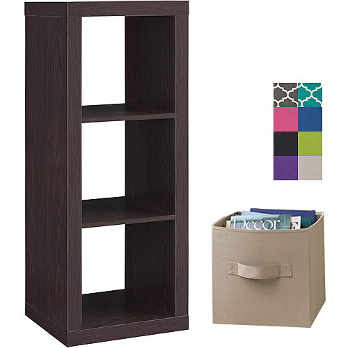Better Homes and Gardens 3-Cube Organizer with 2 Collapsible Fabric Storage Cubes, Mix and Match Colors