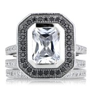 Sterling Silver Cubic Zirconia Wedding Ring Set with Black Halo Size 11