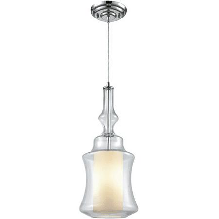 Pendants 1 Light With Polished Chrome Finish Opal White Inside Clear Medium Base 8 inch 100 Watts - World of Lamp (Polished Chrome White Porcelain)