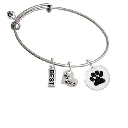 3/4'' Black Paw in White Circle - Big Sister Heart Expandable Bangle Bracelet
