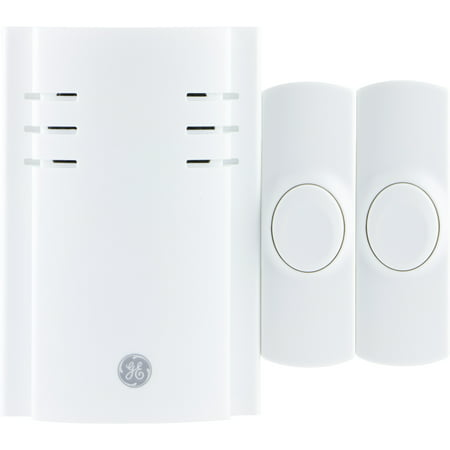 GE Plug In Wireless Door Chime with 2 Buttons, 8 (6 White Door Chime)