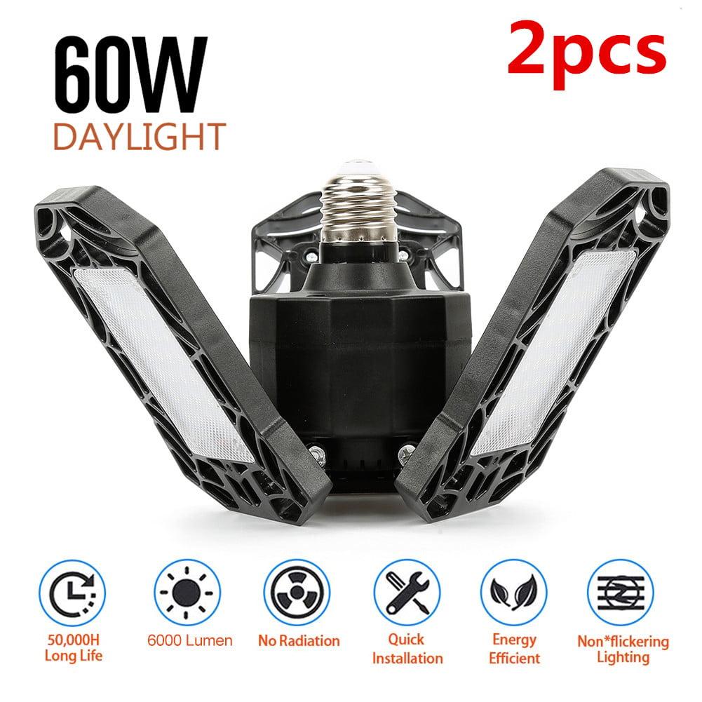 BACNUNN Deformable LED Garage Lights 120W 12000Lumen 6500k 4 Adjustable Leaf Bright Ceiling Lamp E26 E27 Base for Bay /& Area /& Attic /& Workshop Lighting Basement /& Shop Light