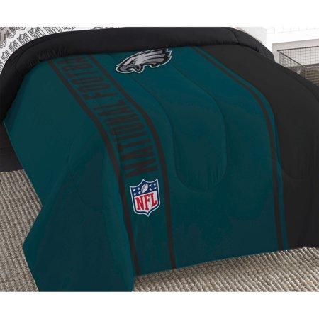 NFL Philadelphia Eagles Bed Comforter Set Football Team Logo Silhouette Stripe Bedding by