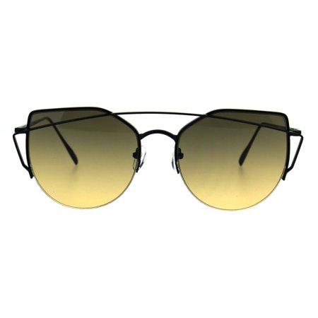 Oceanic Gradient Retro Metal Half Rim Avant Garde Cat Eye Sunglasses Black