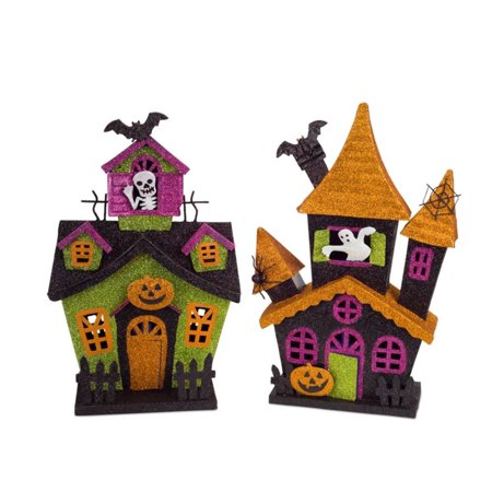 Set of 2 LED Lighted Glittered Halloween Haunted House with 6 Hour Timer 18
