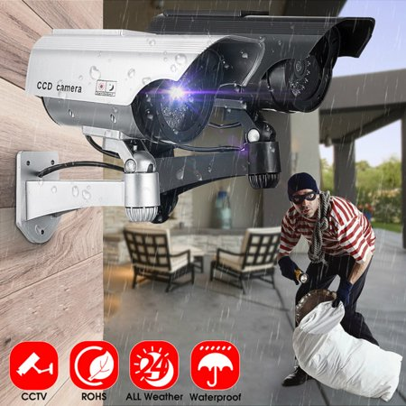 1pc Solar Power Fake Dummy Camera Flashing Red Light Security Surveillance Outdoor