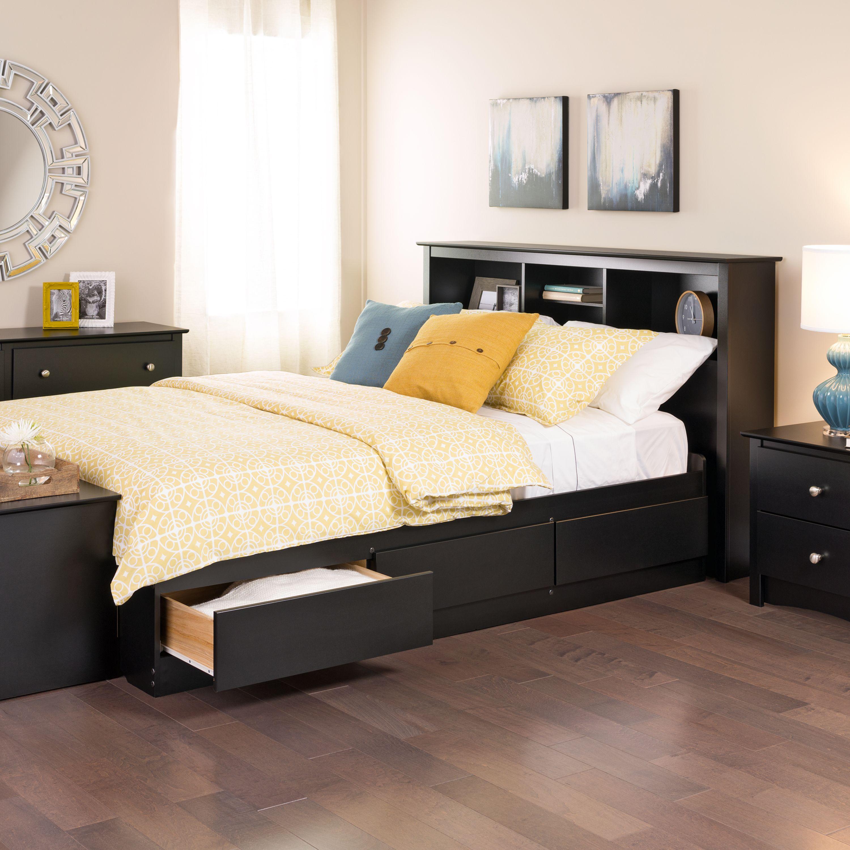Full Mates Platform Storage Bed with 6 Drawers, Black