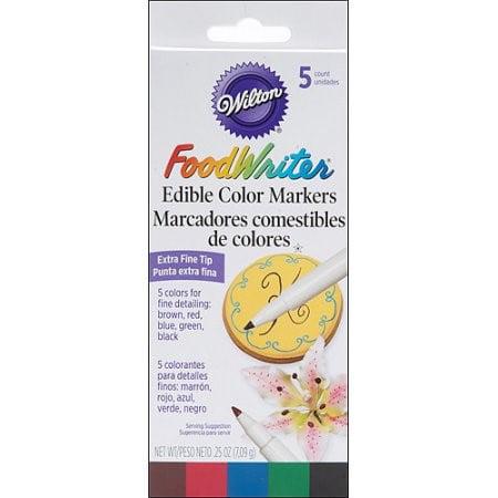 Food Writer Extra-Fine Tip Edible Color Markers .25oz 5/Pkg-Assorted