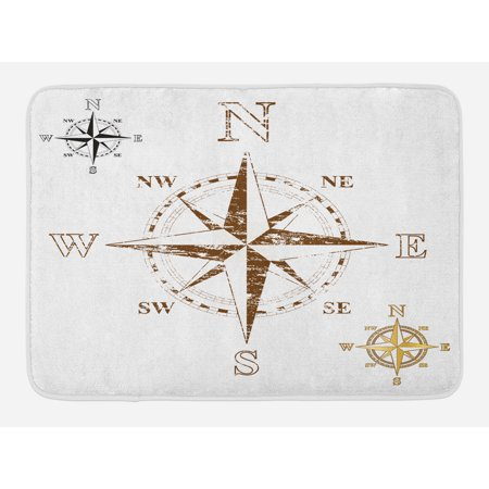 Compass Bath Mat, Calming Faded Windrose Sailing Movement Action Finding Your Way Ocean Exploration, Non-Slip Plush Mat Bathroom Kitchen Laundry Room Decor, 29.5 X 17.5 Inches, White Brown, Ambesonne