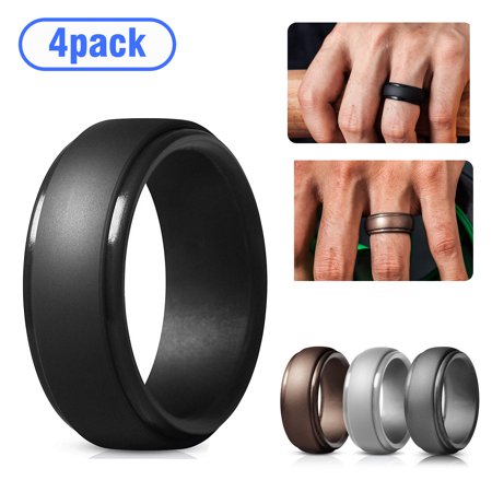 4Pack Silicone Wedding Ring for Men, Breathable Mens' Rubber Wedding Bands, Comfortable Durable Wedding Ring, Size 9 10 11 Available for Workout Mens Rubber Band