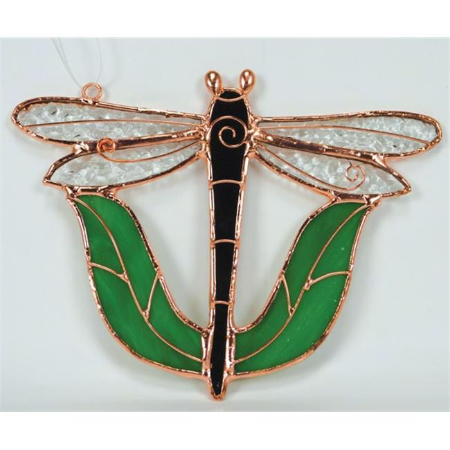 Gift Essentials GE165 Black Dragonfly With Leaves Sun Catcher