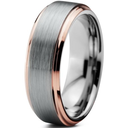 - Tungsten Wedding Band Ring 6mm for Men Women Comfort Fit 18K Rose Gold Plated Plated Beveled Edge Brushed Polished Lifetime Guarantee