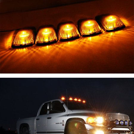 - iJDMTOY 5pcs Smoked Lens Aerodynamic Low Profile Design Cab Roof Marker Running Lamps w/ Amber LED Light Bulbs For Truck Pickup 4x4 SUV