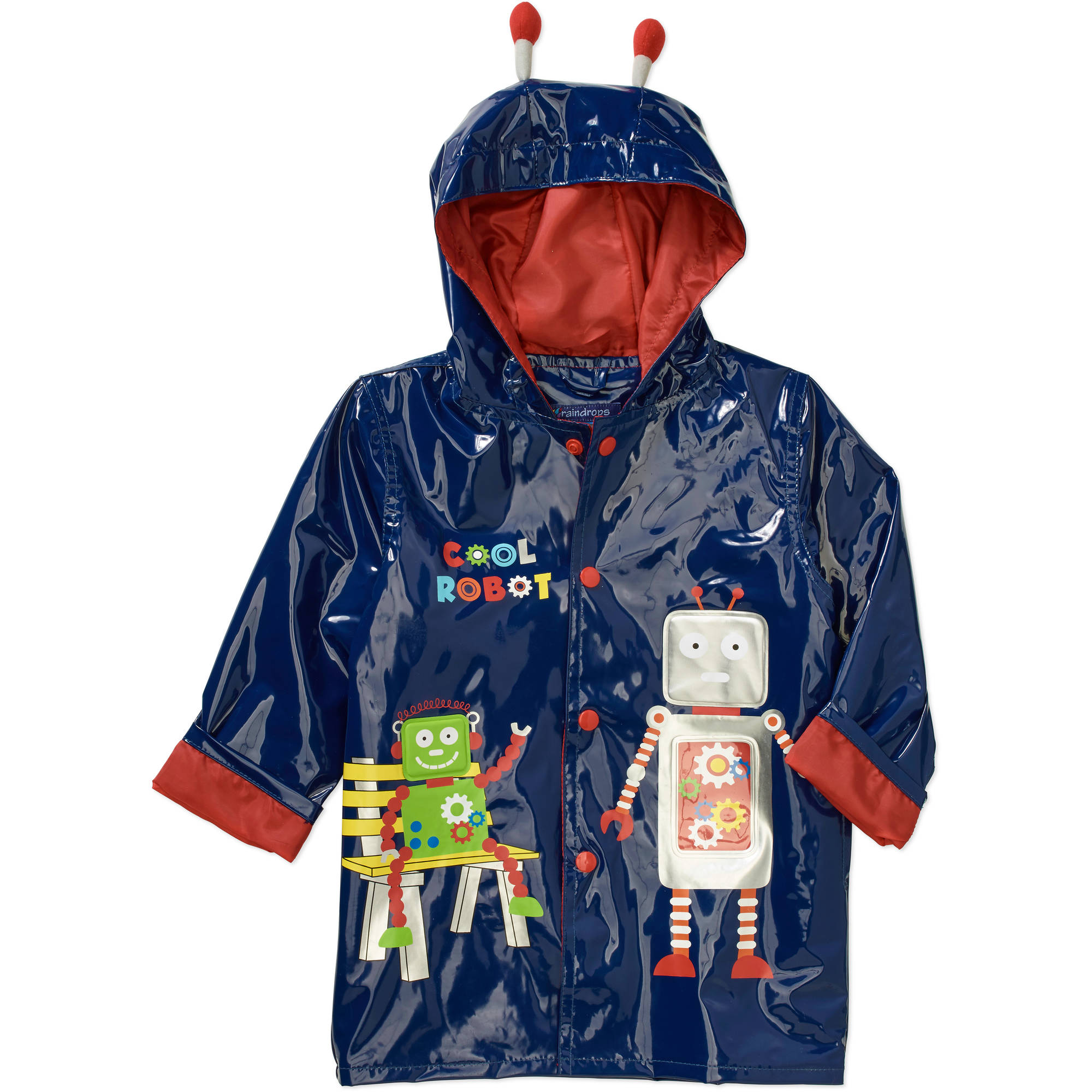 Raindrops Toddler Boy Robot Rain Jacket