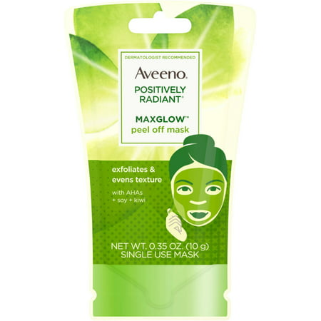 Alpha Hydroxy Mask (6 Pack - AVEENO Positively Radiant MaxGlow Peel Off Exfoliating Face Mask with Alpha Hydroxy Acids, Soy & Kiwi Complex f )