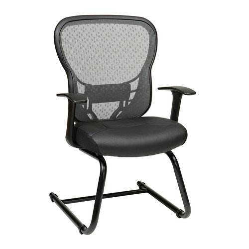 OSP Designs Deluxe Back Eco Leather Guest Chair with Fixed Arms