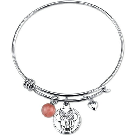 Disney Women's Stainless Steel Love and Kisses with Heart and 8mm Cherry Quartz Bead Bangle Bracelet