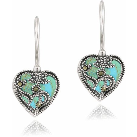 Created Turquoise and Marcasite Sterling Silver Heart Drop Earrings ()
