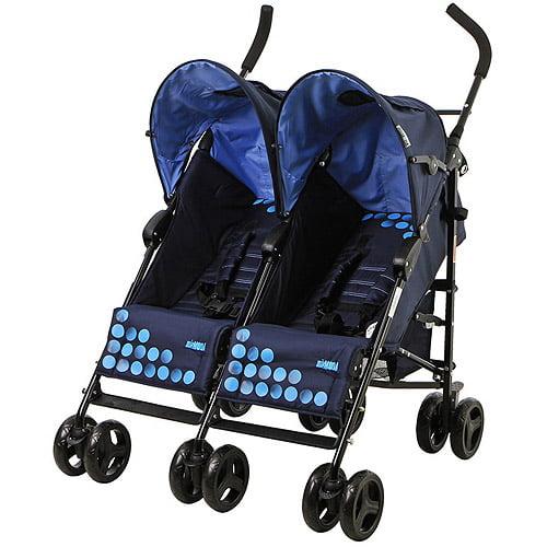 Mia Moda Facile Twin Stroller In Navy/bl
