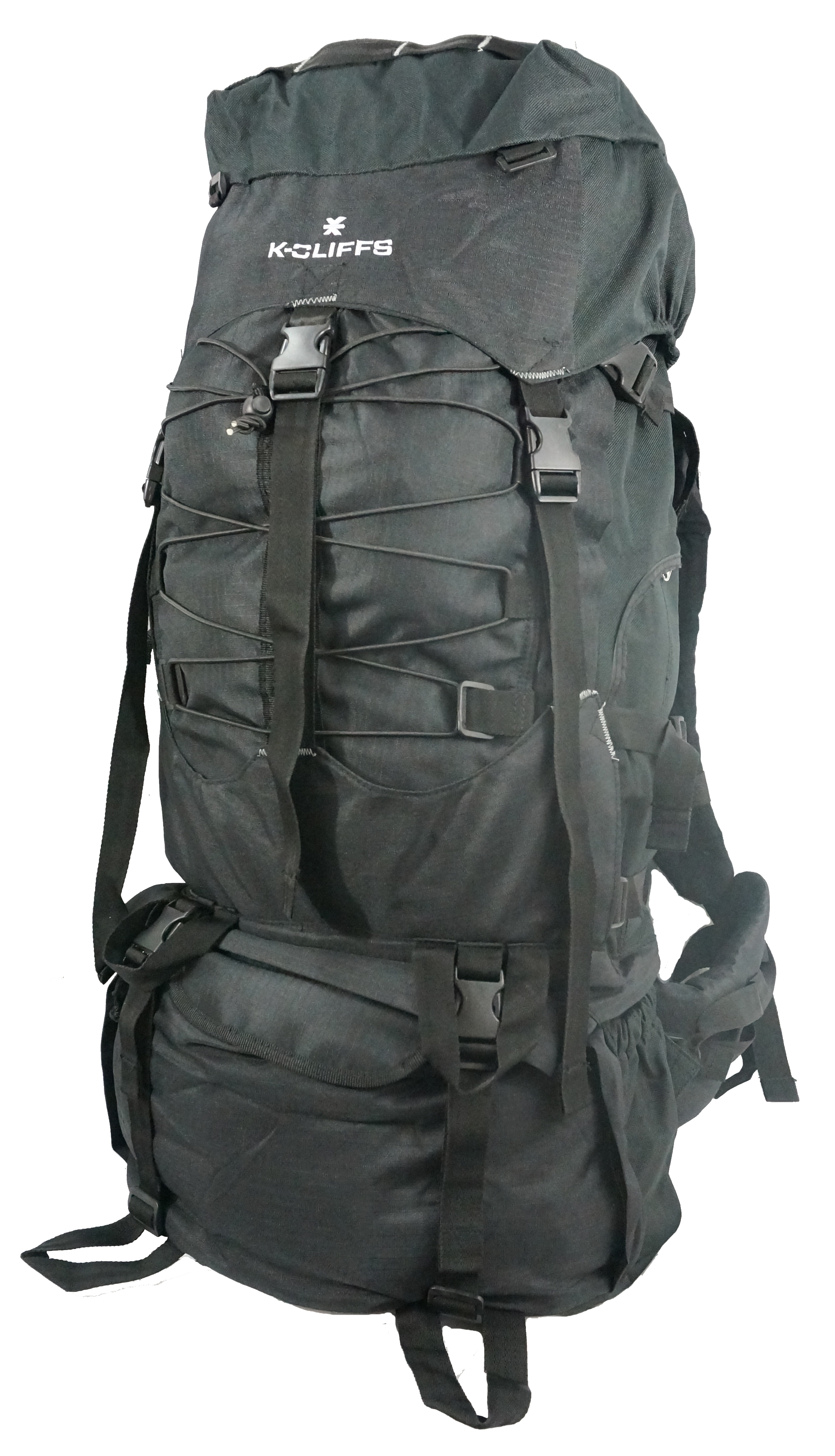 K-Cliffs Hiking Backpack Large Scout Camping Backpack Outdoor Travel Bag w Rain Cover Black by K-Cliffs