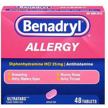 Benadryl Ultratab Antihistamine Allergy Medicine Tablets, 48 Ct