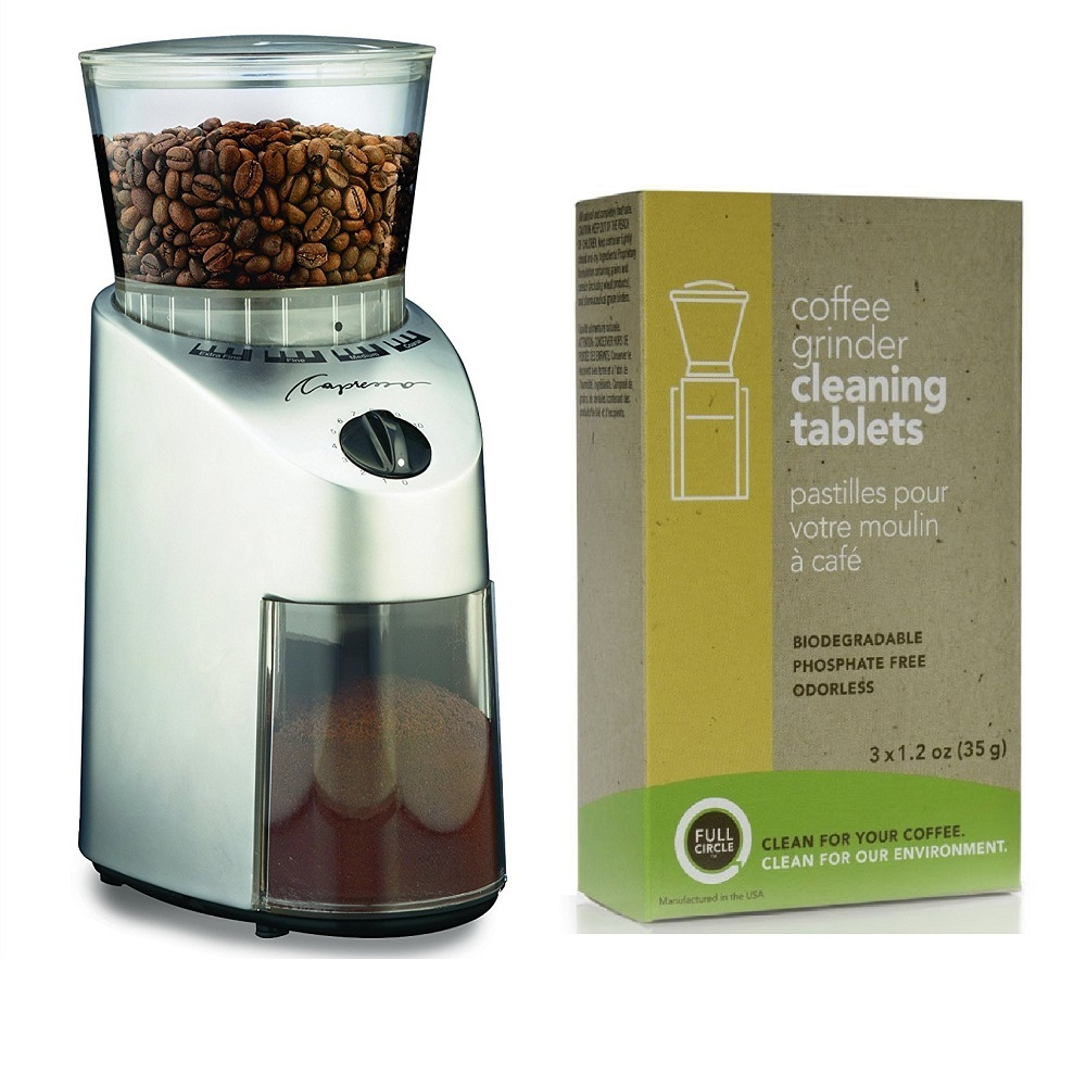 Capresso 560.04 Infinity Conical Burr Grinder (Stainless Finish) + Biodegradable Cleaning Tablets