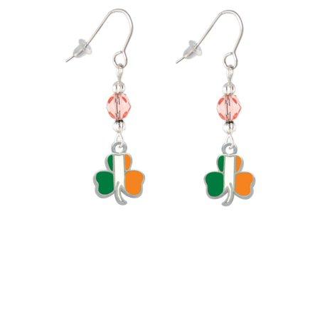 2-D Irish Flag Shamrock Pink Bead French Earrings