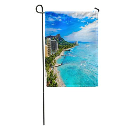 SIDONKU Blue Hotel Waikiki Beach and Diamond Head Honolulu Oahu Island Hawaii Green Sand Garden Flag Decorative Flag House Banner 28x40 inch ()