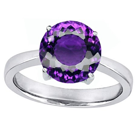 Star K Large Solitaire Big Stone Ring with 10mm Round Simulated Amethyst in Sterling Silver Size (Big Round Com)