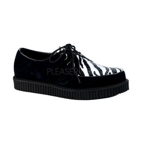 CRE600 ZB FUR Demonia Creepers Unisex Shoes ZEBRA Size: 4 by