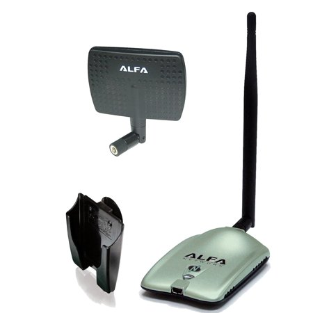 Alfa AWUS036NH 2000mW 2W 802.11g/n High Gain USB Wireless G / N Long-Range WiFi Network Adapter with 5dBi Screw-On Swivel Rubber Antenna and 7dBi Panel Antenna and Suction cup / Clip Window