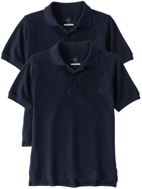 84ef4aed284 Product Image Boys School Uniform Short Sleeve Double Pique Polo, 2-Pack  Value Bundle