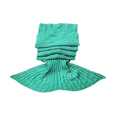 e-joy Mermaid Tail Crochet Knitting Blanket all Season Bag Best Birthday Christmas Gift Handmade Living Room Sleeping Blanket, Green for Adult 71x36 inch ()