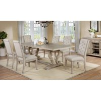 Best Master Furniture Brenda Natural 7 Pcs Rectangle Dining Table Set