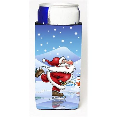 Christmas Santa Claus Ice Skating Michelob Ultra Can coolers for Slim