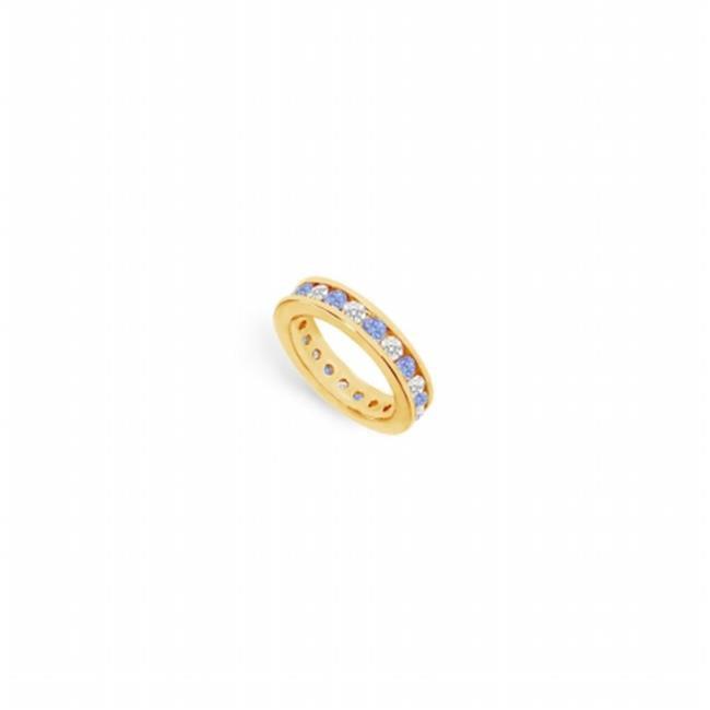 Fine Jewelry Vault UBUAGVYRD200CZTZ1415 CZ Eternity Bands With Tanzanite Created 2 CT in 18K Yellow Gold Vermeil