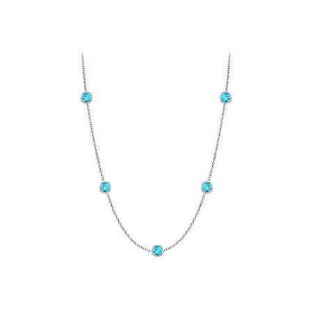Blue Topaz Station Necklace in 14K white gold 10 Carat with 36 Inch Length - image 1 of 2