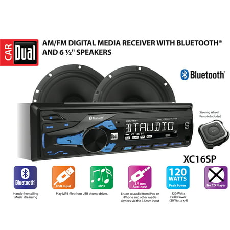 Two Care Package - Dual Electronics XC16SP High Resolution LCD Single DIN Car Stereo Receiver with Built-In Bluetooth, USB, MP3 Player & Two 2-Way High Performance 50 Watt 6.5-inch Car Speakers