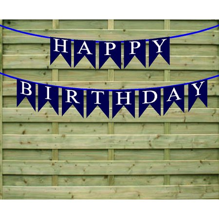 HAppy Birthday Navy Paper Garland Bunting Party Decoration Banner - Happy Birthday Garland