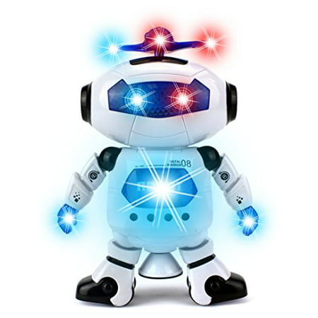 Digital Dancing Warrior Toy Robot Figure w/ Colorful Rotating Lights, Music, Dancing Action, 360 Degree Spins (Robots For 4 Year Olds)