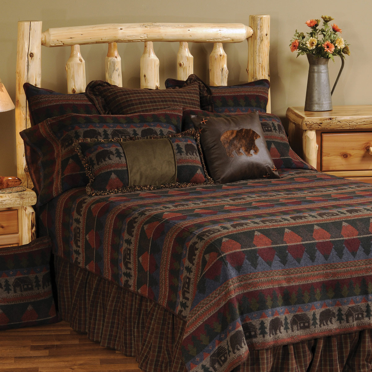 Black Forest Decor Cabin Bear Bedspread - Super Queen