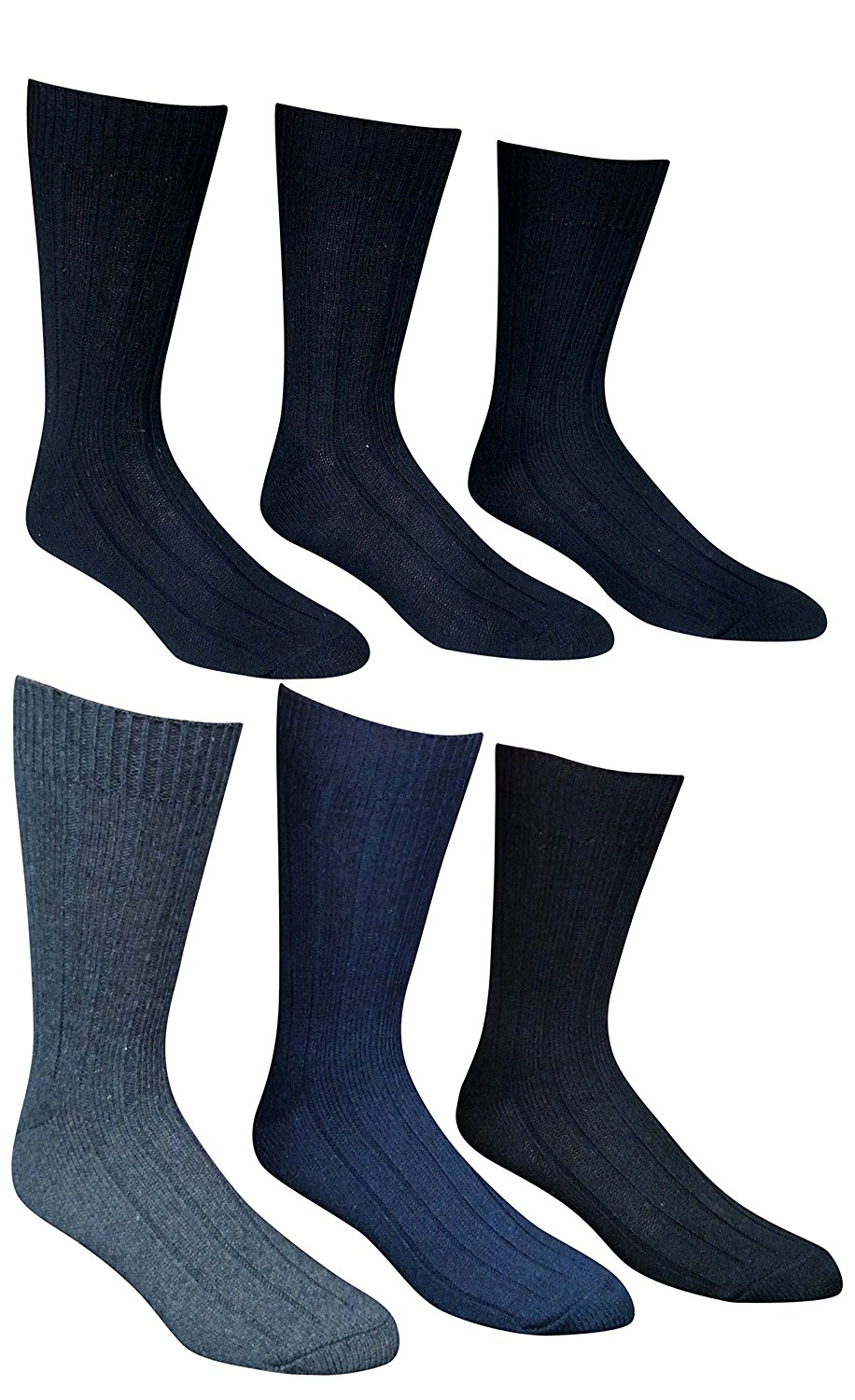 6 Pairs Of excell Mens Premium Winter Wool Socks With Cable Knit Design (1503) by Wool Socks