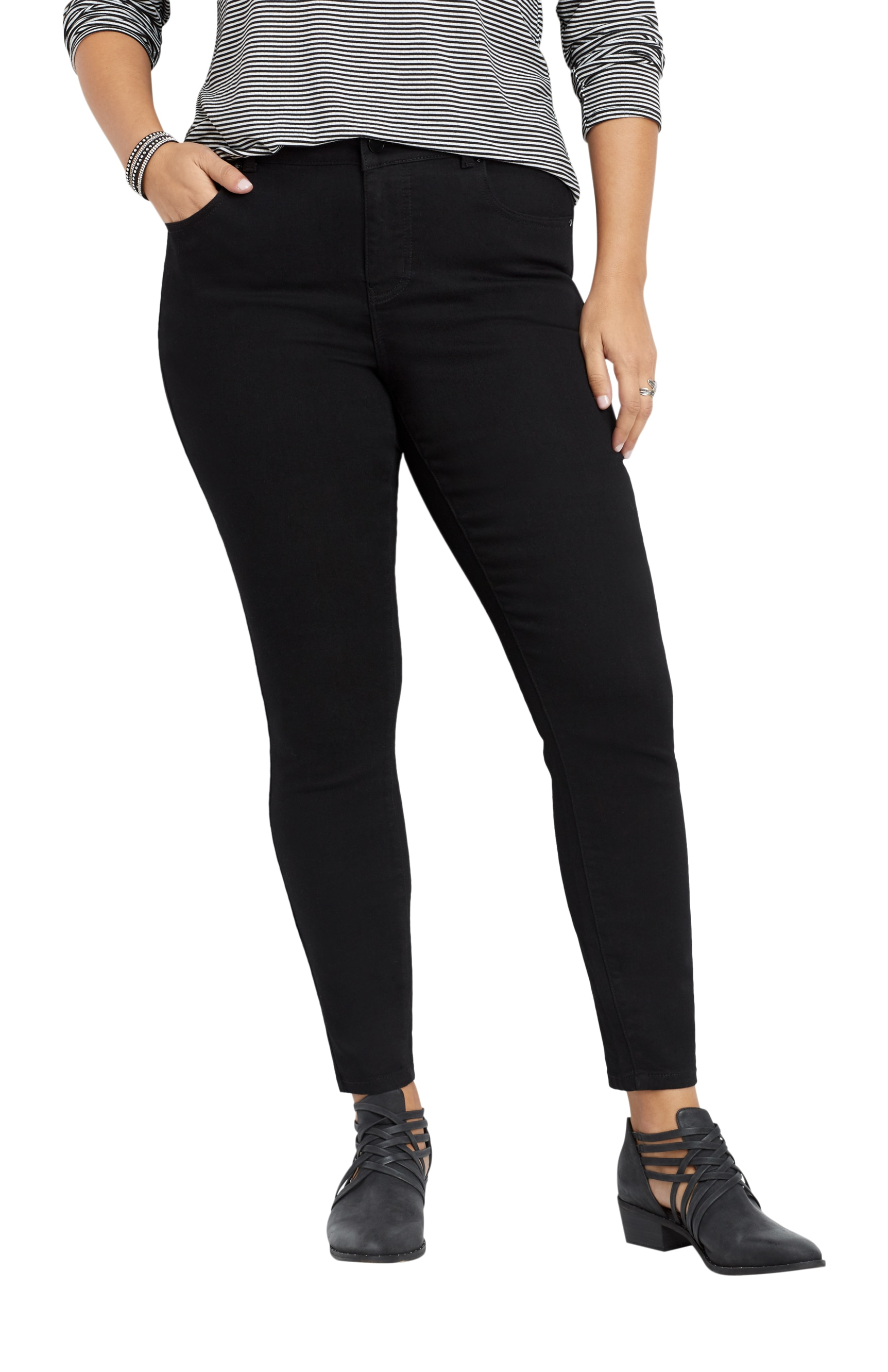 f713fd7755066 Maurices High Rise Skinny Jean - Plus Size Everflex Women s Black Stretch