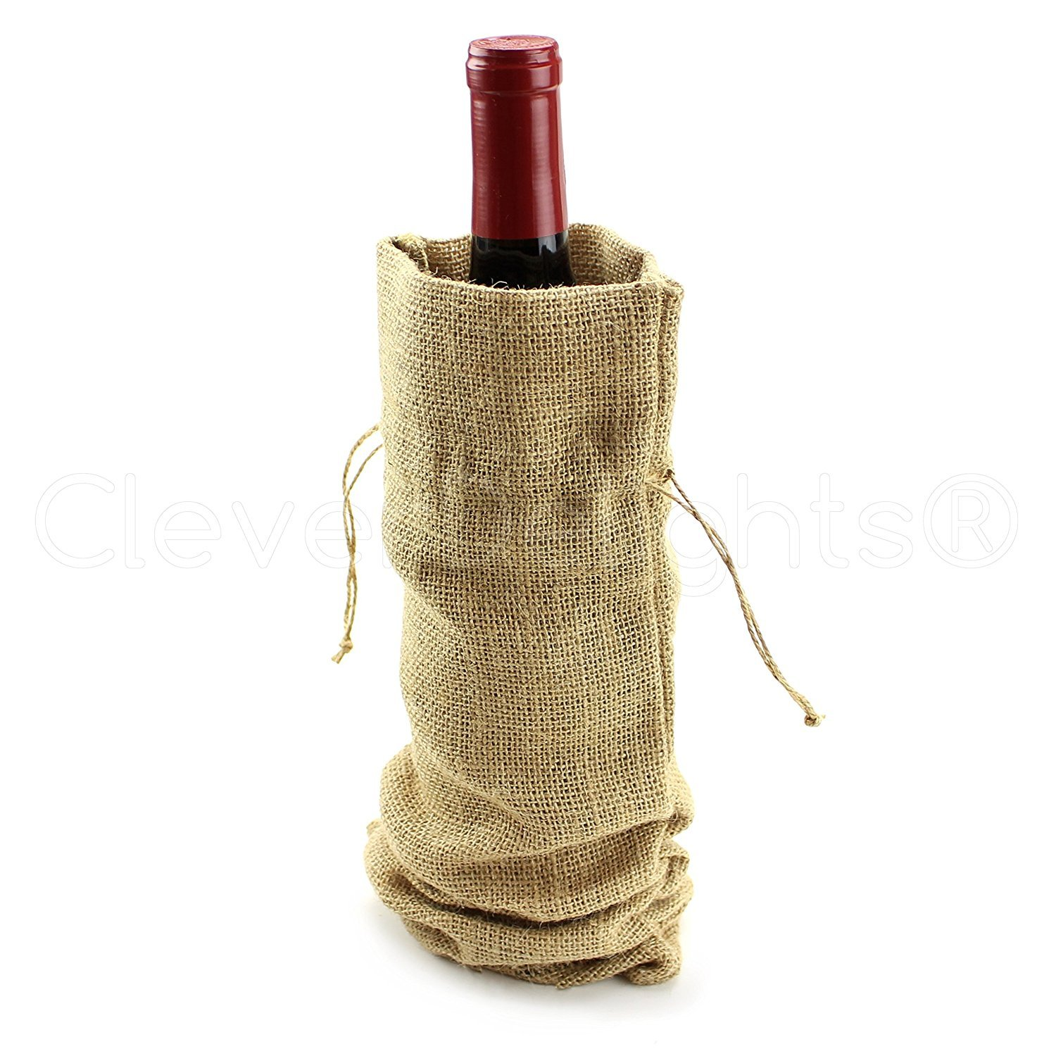 """5 Pack - CleverDelights 14"""" Burlap Wine Bags with Drawstrings"""