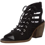 Vince Camuto Women's Chesten Leather Teep-Toe Man Made Stacked Heel Sandal