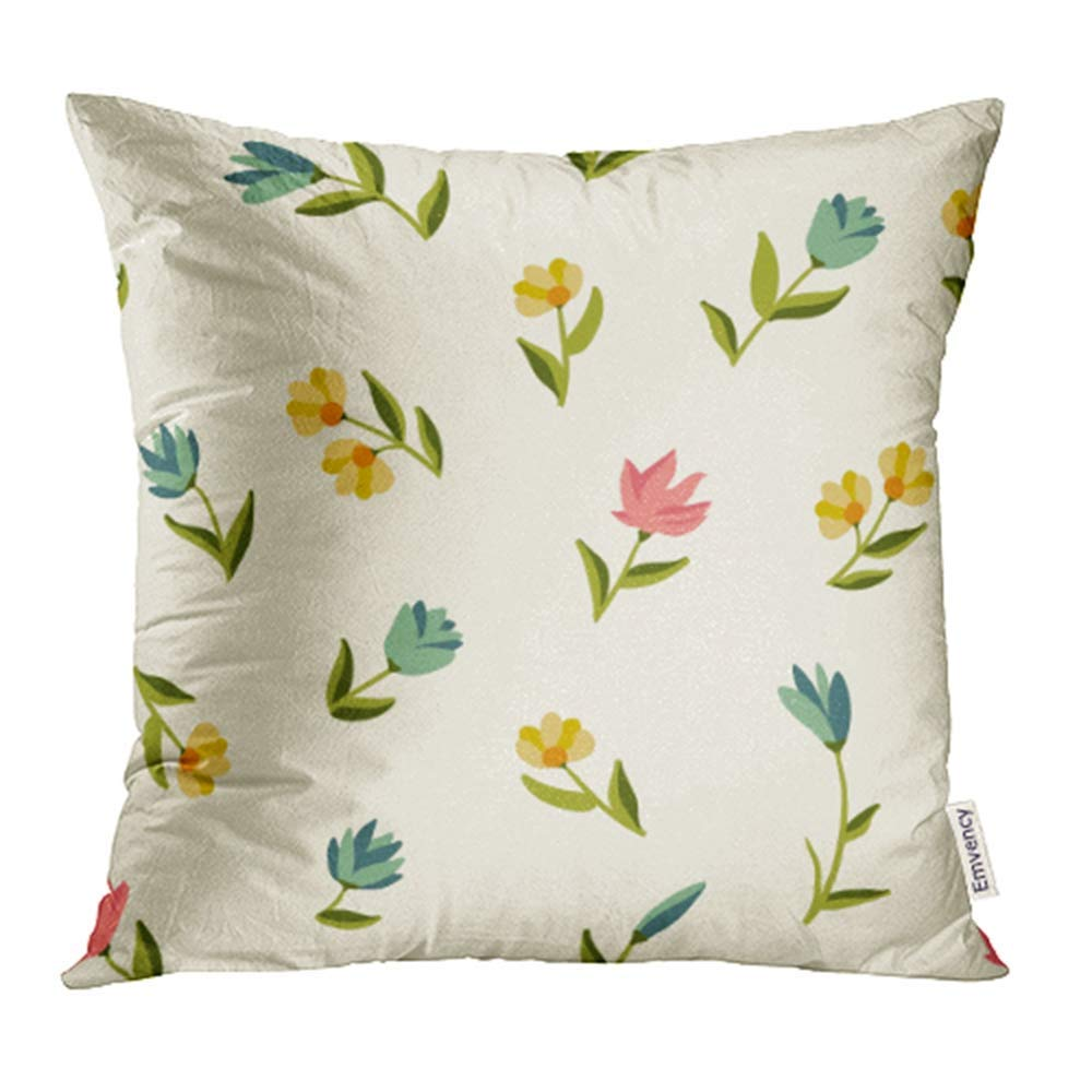 USART Blue Tiny Floral Pattern with Small Flowers Colorful Blossom Branch Bud Color Pillowcase Cushion Cover 20x20 inch