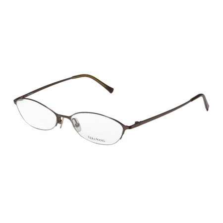 New Vera Wang V101 Womens/Ladies Cat Eye Half-Rim Titanium Dark Brown Half-rimless Cat Eye Titanium Frame Demo Lenses 48-17-130 -
